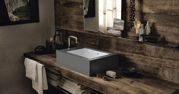 Countertop rectangular corian washbasin corian rustic - Corian de dupont ...