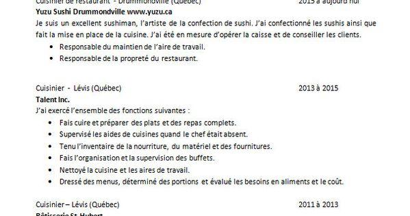 Cv Type Cuisinier Lettre De Motivation Cv Lettre De Motivation Cv Type