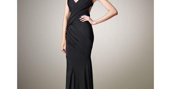 Donna Karan Open Back Jersey Gown Art Deco Inspired