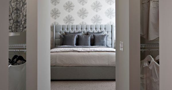 His And Her Closet With Amazing Wallpaper Gray And White