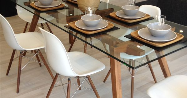 Sticotti glass dining table and Eames dining chairs in  : 92e5e6ae80ae870e4383752ee2b34954 from www.pinterest.com size 600 x 315 jpeg 35kB