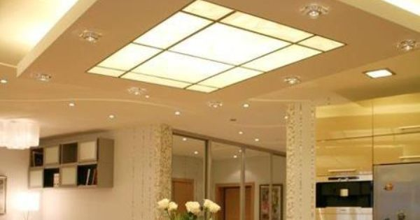 suspended ceiling with both up lighting and a lightbox in