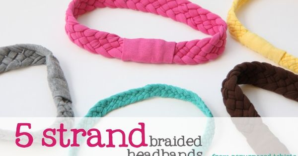 5 strand braided tshirt headbands. can't wait to make these babies.