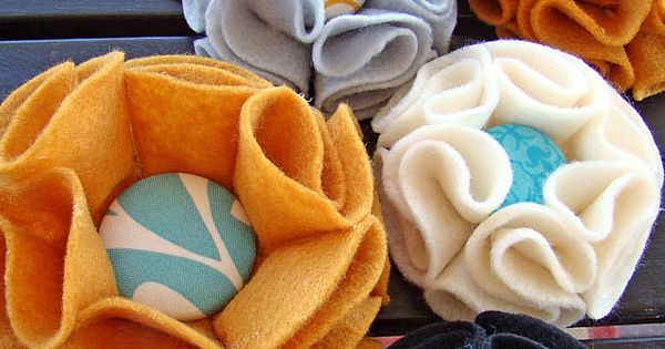 no sew button flower pins