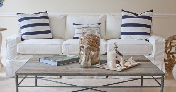Casual Chic Coastal With White Slipcovered Sofas Many