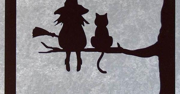 la sorci re et son chat tableau silhouette en bois d coup fils sorci res d 39 halloween et. Black Bedroom Furniture Sets. Home Design Ideas