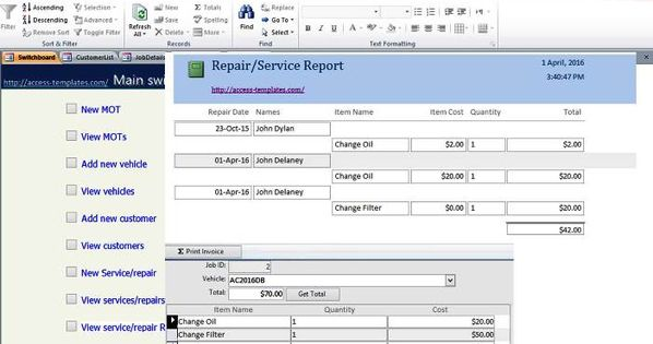 car and vehicle maintenance access database management
