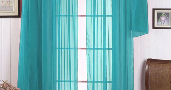 Beatrice Home Aqua Voile Curtain Panel Amp Scarf Set Aqua