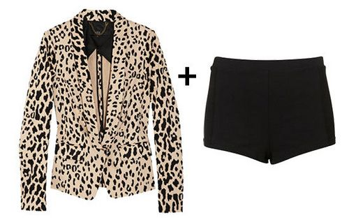 Leopard print blazer + black shorts