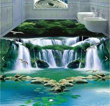 3d Pvc Suelos De Encargo Mural Imagen 3d Sueno Piso Del Bano De Agua Cascada Bosque Verde 3d Foto Murales D Pisos Pintados Esculturas De Pared Pisos Para Banos