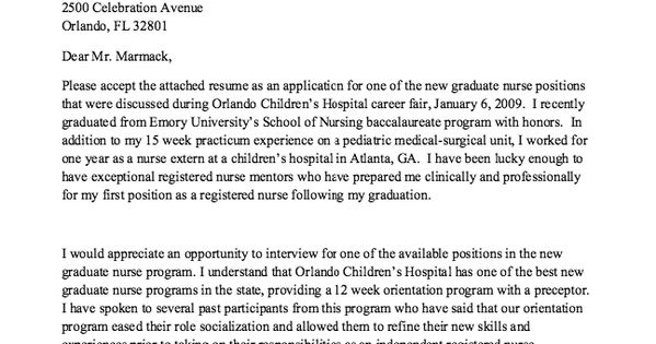 Example Of Cover Letter New Graduate Nurse