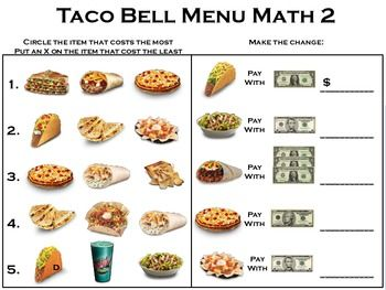Menu Math Binder Math Binder Taco Restaurant Menu