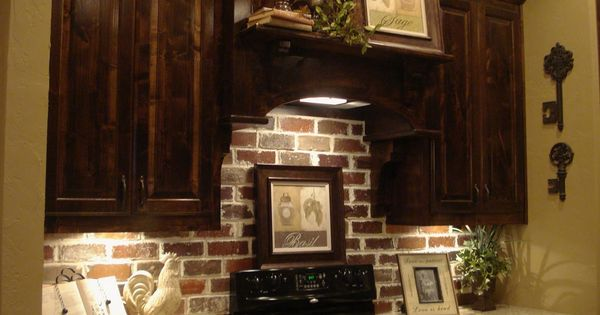 Brick Backsplash dark cabinets Yes future kitchen | The