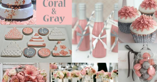 Coral and Gray Wedding Colors. Love Love LOVE. Gray is definitely going