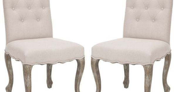 Safavieh Beige Amber Upholstered Dining Side Chair (Set Of 2) ADORE ...