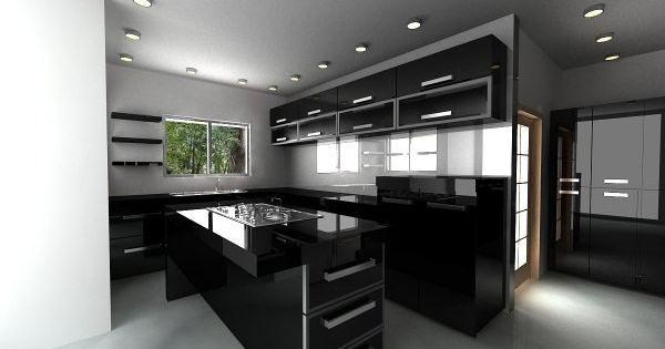 Cocina color negro cocinas pinterest for Cocinas integrales negras