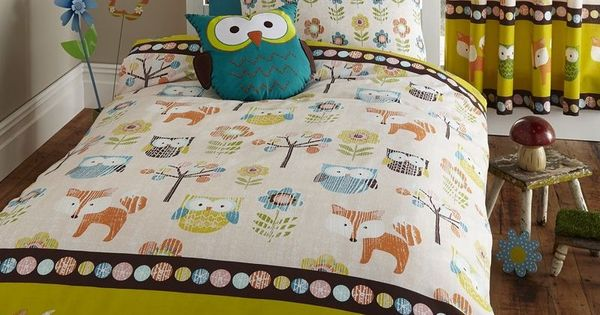 Woodland Creatures Owls Hoot Fox Kids Single Bed Duvet