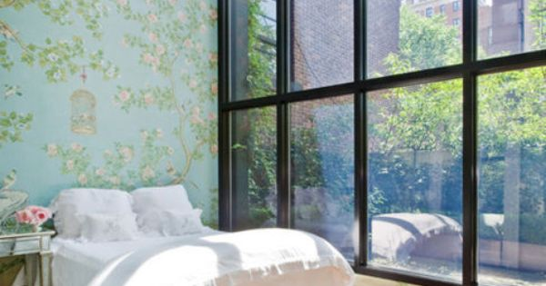 Bedroom with floor to ceiling windows - home interior