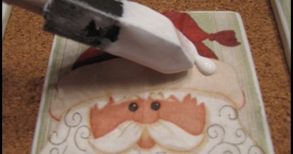 Mod Podge Christmas Napkins onto Tile Coasters.. nice! Some people should expect