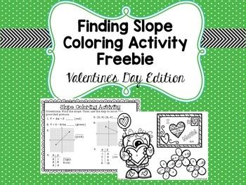 Finding Slope Coloring Activity Freebie Valentine S Day Edition