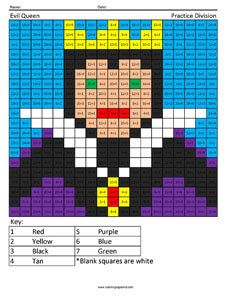 Disney Villains Multiplication And Division Coloring Squared Disney Colors Plastic Canvas Patterns Coloring For Kids