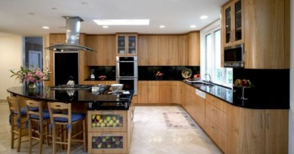 Birch Kitchen Cabinets With Dark Counter Tops And Light Floor Cheap Countertops Countertops Inexpensive Countertops
