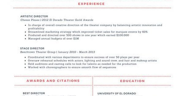 Cream and Red Modern Theatre Resume CV Pinterest Cream - theatre resume