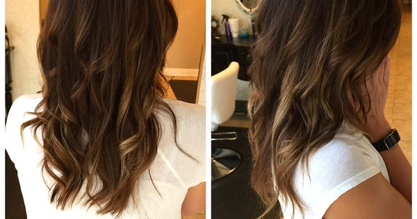 Balayage Honey Highlights With Dark Chocolate Brown Hair Long Layers Soft Curls Knoxville