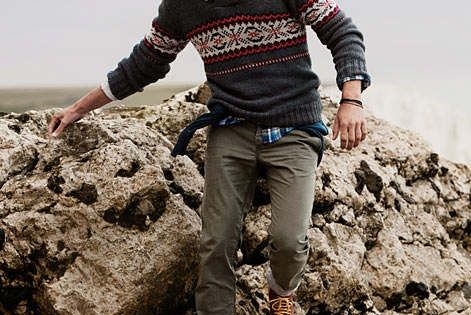 Choose a charcoal fair isle crew-neck sweater and olive chinos for a