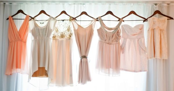 blush and peach bridesmaid dresses, shot by Mayfly Photography