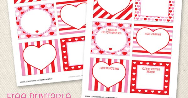 Free printable Valentines Day school lunch notes (or love notes!) from Chickabug