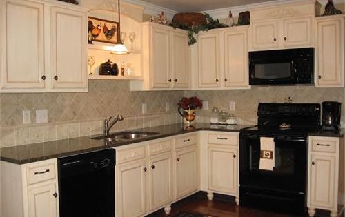 White Cabinets With Black Appliances Kitchen Redo