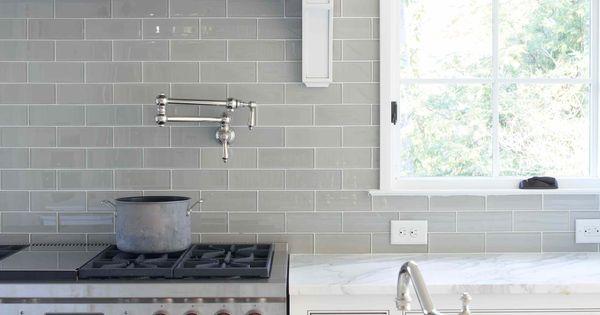Smoke Glass Subway Tile Grey Backsplash Tile And Marble