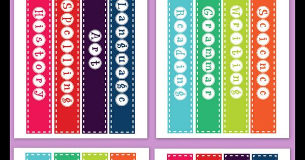 Classroom Design Tools ~ Free printable quot binder spine labels for basic school