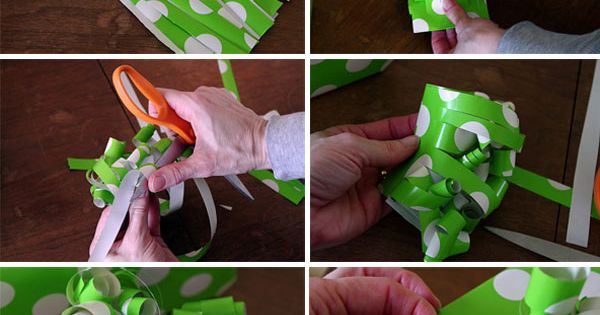 Make a bow with the wrapping paper scraps!
