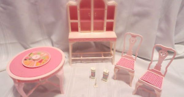 Vintage 1980s Barbie Fashion Dining Room Set Tables Chairs