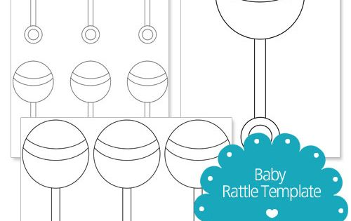 Printable Baby Rattle Template Baby Shower Scrapbook Baby Rattle Baby Shower Printables