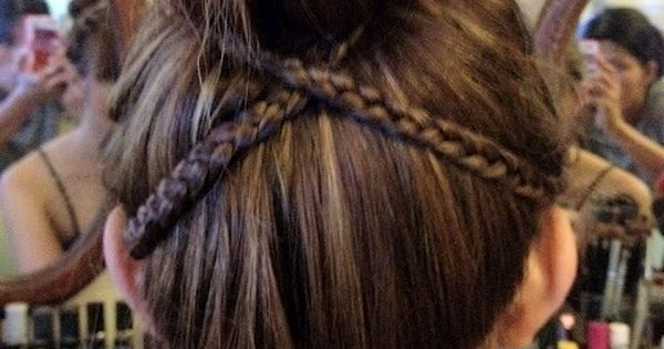 cute bun with criss cross braid - Hairstyles How To