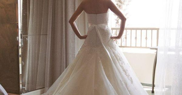drop waist A-line gown, so gorgeous with the lace details and flowing