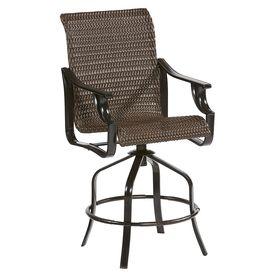Allen Roth Set Of 2 Brown Wicker Metal Swivel Bar Stool Chair S