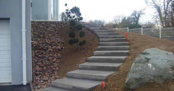 escalier ext rieur en b ton escaliers en b ton d sactiv mur en pierres s ches terrasse en. Black Bedroom Furniture Sets. Home Design Ideas
