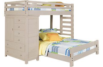 Creekside Stone Wash Twin Twin Student Loft Bed With Chest Kid Beds Kids Bunk Beds White Bunk Beds