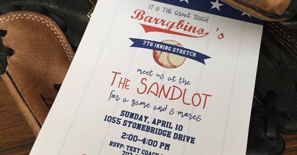 The Sandlot Baseball Party Invitations Printable Pdf File