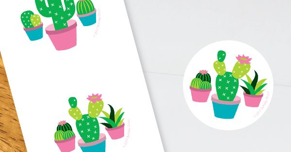 30 CACTUS FLOWERS SUCCULENTS ENVELOPE SEALS LABELS STICKERS PARTY FAVORS 1.5/""