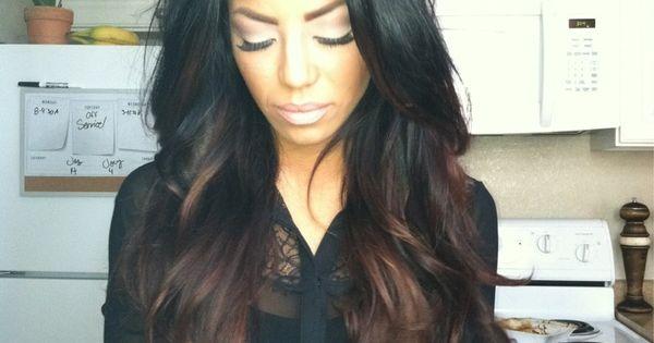 CHOCOLATE LATTE brunette black base ombre hair haircolor hairstyle hair everythinghair fallhair