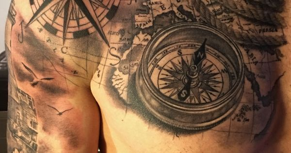 Compass map tattoo by fabrizio converso some of my work for Renaissance tattoo san clemente