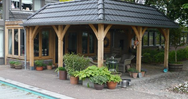 Eiken eikenhout eikenhouten bijgebouw bijgebouwen atelier carport garage gastenverblijf - Opslag idee lounge ...