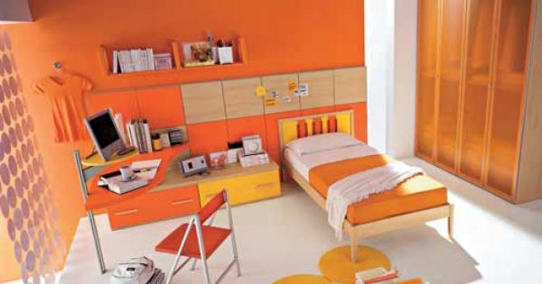 Orange girls bedroom ideas with catchy color me for Beautiful bedroom pictures me