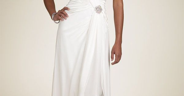 Simple Informal V-neck Chiffon Wedding Dress For Older
