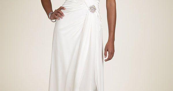 Wedding Dresses For 40: Simple Informal V-neck Chiffon Wedding Dress For Older